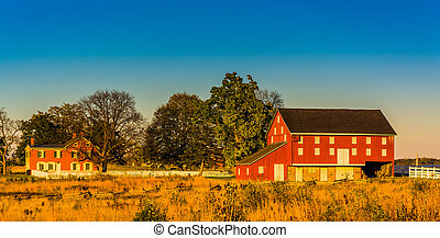 Red barn and house in Gettysburg, Pennsylvania.