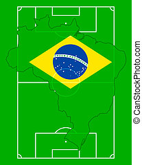 Soccer field with map and flag of Brazil