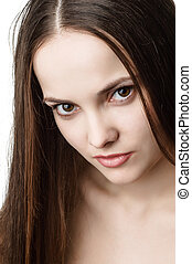 young beautiful brown eyed woman - portrait of young...