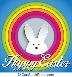 Happy Easter Rabbit Bunny on Rainbow Background - Vector -...