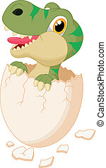 Cute dinosaur cartoon hatching - Vector illustration of Cute...