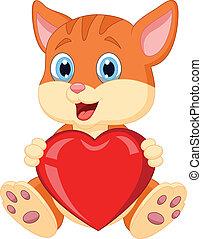 Cartoon cat holding red hart - Vector illustration of...