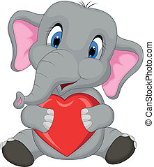 Cute elephant cartoon holding red h - Vector illustration of...