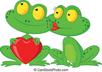 Cute cartoon frog couple holding re - Vector illustration of...