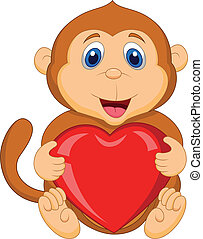 Cartoon monkey holding red heart - Vector illustration of...