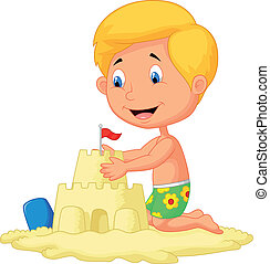 Cartoon boy making sand castle - Vector illustration of...