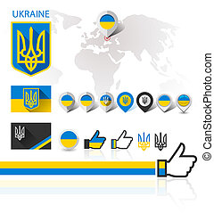 Flag, emblem Ukraine and World map - Flag and coat of arms...