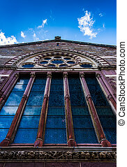 Stained glass windows on the side of a church in Boston, Massachusetts.