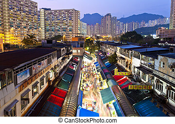 Local market in Hong Kong at night - HONG KONG - FEB 9, Ngau...