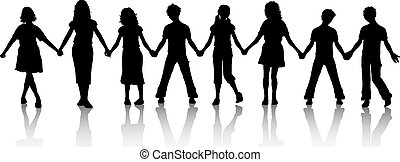 Children holding hands - Silhouettes of children holding...
