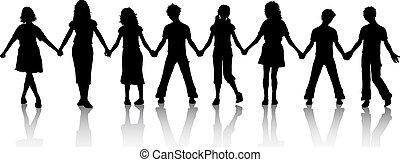 crianças, segurando, mãos