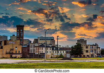 Sunset over the abandoned Old Town Mall in Baltimore,...
