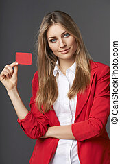 Business woman showing red card in hand - Beautiful smiling...