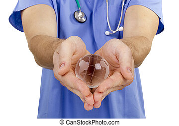 Doctor hand globe - Doctor hand holding a symbolic globe...