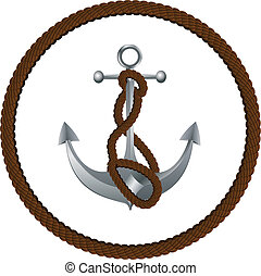 Anchor with rope - Metallic anchor with a rope on white...