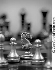 Chess Board with Knight Facing Opponent - Chess board with...