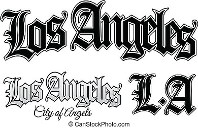 Los Angeles - Vector illustration of Los Angeles and LA in...