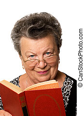 old woman with the book - The old woman with the red book on...