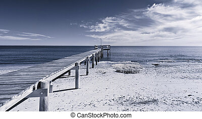 infrared photo of dock and ocean