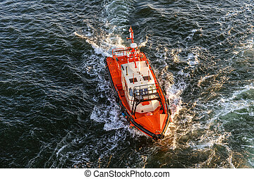 Coast Guard lifeboat. - Orange and white coast guard...