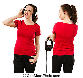 Woman wearing blank red shirt and headphones - Young...