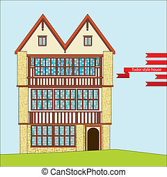 Tudor style house - three-story Tudor style house with large...
