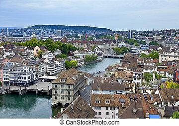 overview of Zurich, Switzerland - Zurich Switzerland as seen...