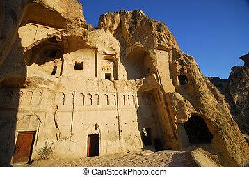 Carved rock in Cappadocia, Turkey