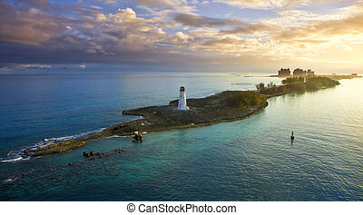 nassau, bahamas at dawn - nassau bahamas, lighthouse, and...