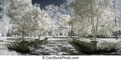 infrared photo of garden and houses - color infrared photo...
