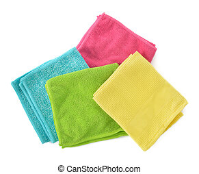 Set of microfiber cleaning cloths isolated on white. - Set...