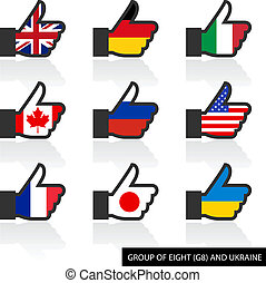 Set of G8 flags with shadow, like Vector illustration