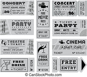 Grunge Vector Grayscale Tickets Collection 3 - A collection...