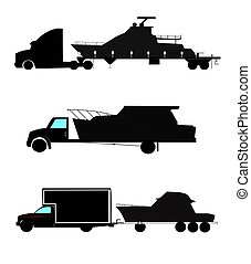 boats on trailers in silhouette