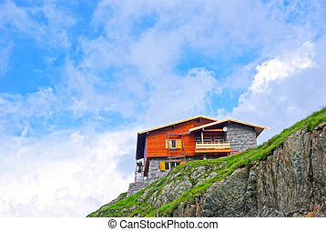 Mountain chalet on the top of the Fagaras mountains.