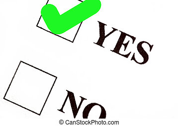 Vote yes - Yes and no boxes, yes voted