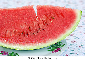 Water melon - Slice water melon on table.