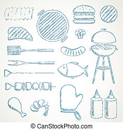 Vector Barbecue Grill Icons - Vector Illustration of...