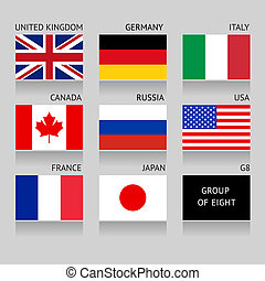 Set of G8 flags - Set of Flags Countries Members of the G8...