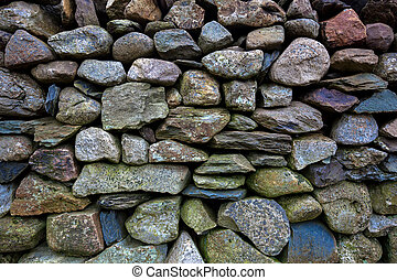Dry stone wall, Snowdonia - Detail of an old dry-stone wall...