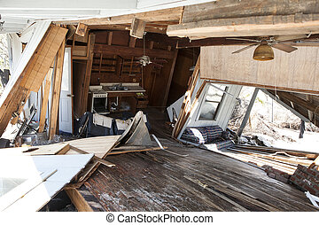 interior of flood damaged home - interior of home destroyed...