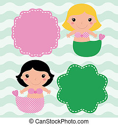 Mermaids with blank signs isolated on wave background - Cute...