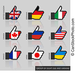 Set of G8 flags, like - Set of G8 flags with reflection,...