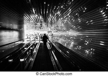 Underground moving walkway at the National Gallery of Art,...