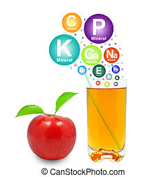 apple juice and vitamins on a white background