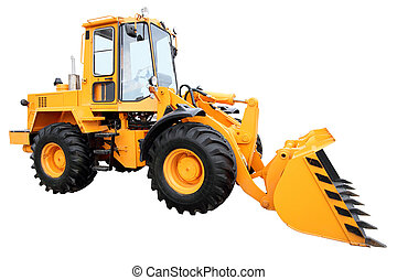 Modern yellow tractor isolated on a white background