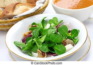 fresco, vegetal, salada, pão