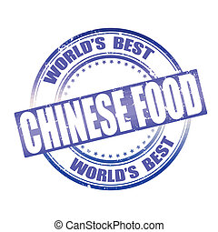 chinese food grunge stamp whit on vector illustartion