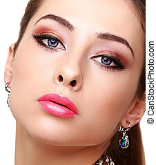 Sexy bright makeup woman face with long lashes. Closeup