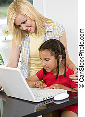 Mother and Child With Computer